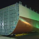 SCHEUERLE_SPMTs_moving_a_ship_section_Gemi_Kesiti ukc hesaplama ukc calculation under keel clearance calculation under keel clearance hesaplama